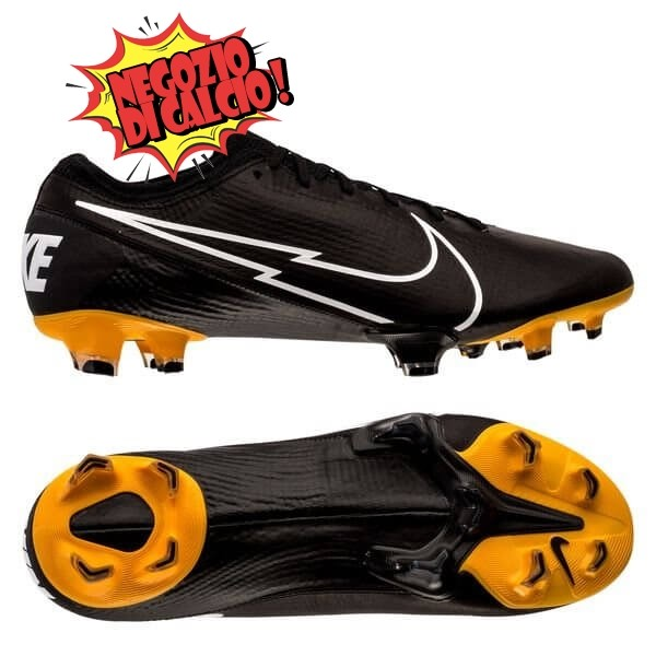 Nike Mercurial Vapor 13 Elite Donna FG Leather Tech Craft Nero Bianco Oro Scontate