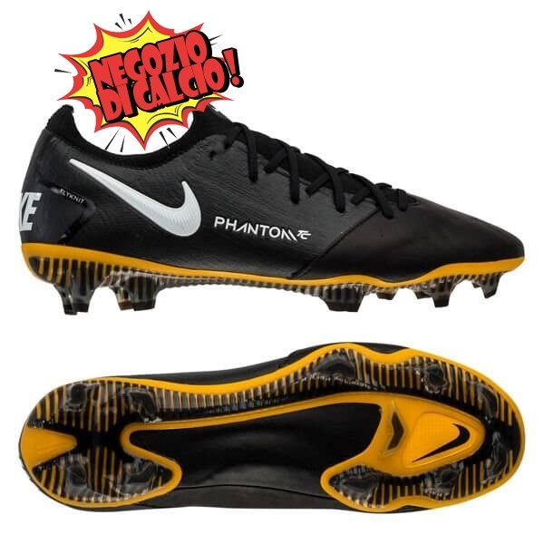 Nike Phantom GT Elite FG Leather Tech Craft Nero Bianco Oro Scontate